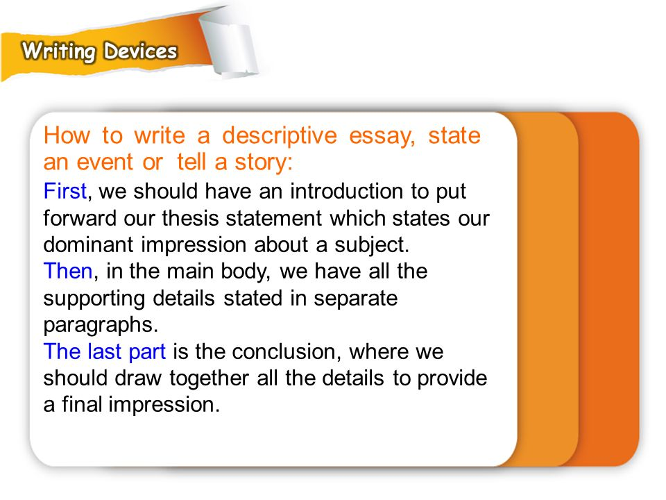 How to write a descriptive essay, state an event or tell a story: