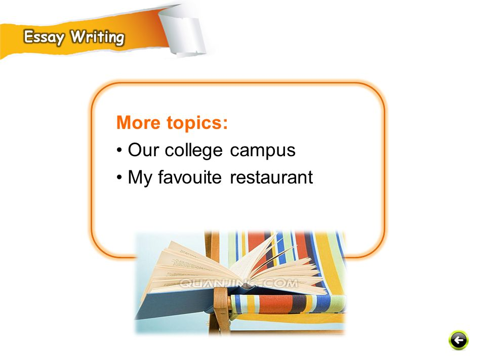More topics: • Our college campus • My favouite restaurant