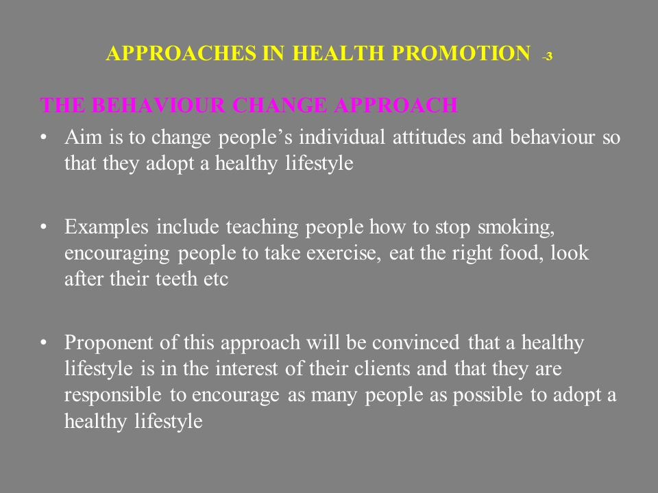 approaches to health Today this approach is known as cognitive psychology this is where health psychologists take the finding that biological psychologists produce and look at the.