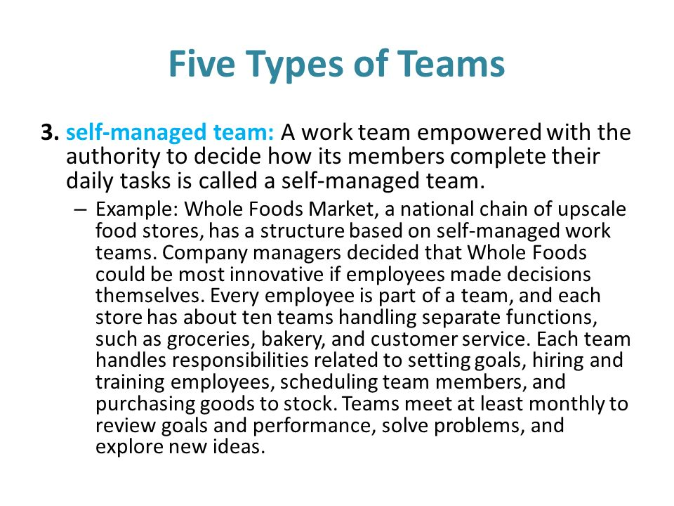 working in a team example