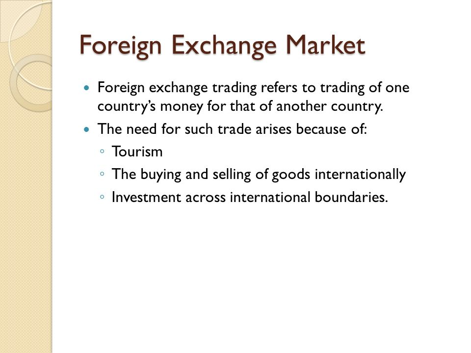 Foreign exchange market analysis
