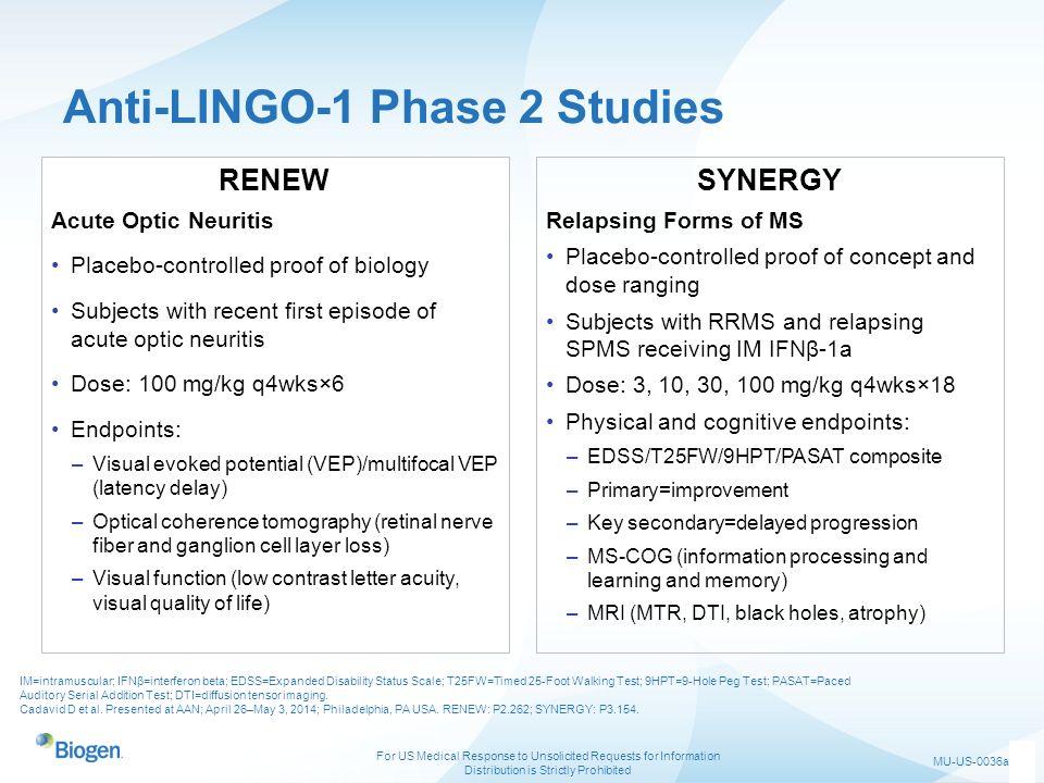 Anti-LINGO-1 Phase 2 Studies