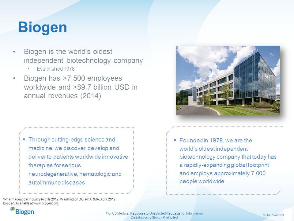Biogen Biogen is the world s oldest independent biotechnology company