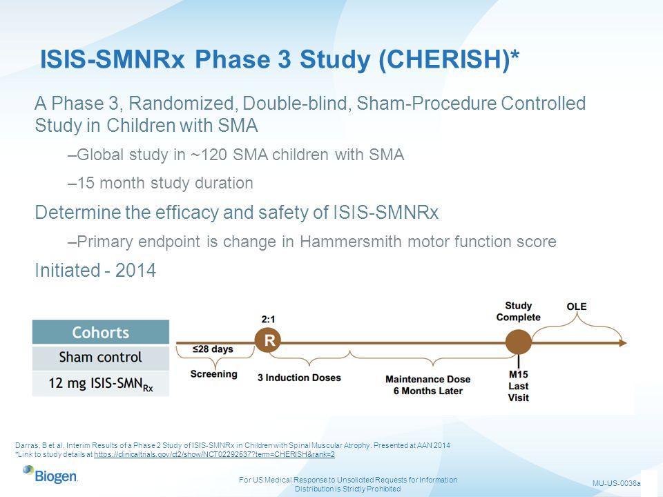 ISIS-SMNRx Phase 3 Study (CHERISH)*
