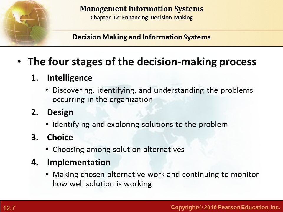 implementation and decision making process it systems Decision making process and help the organizations control ongoing implementation of web intelligence ghaffarzadeh s a m decision making based on management information system journal of management.