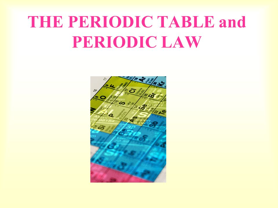 Periodic Law Example THE PERIODIC TABLE and...