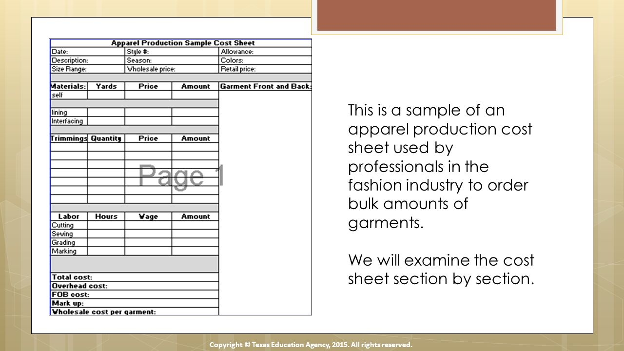 Unusual Garment Cost Sheet Template certificate of excellence template