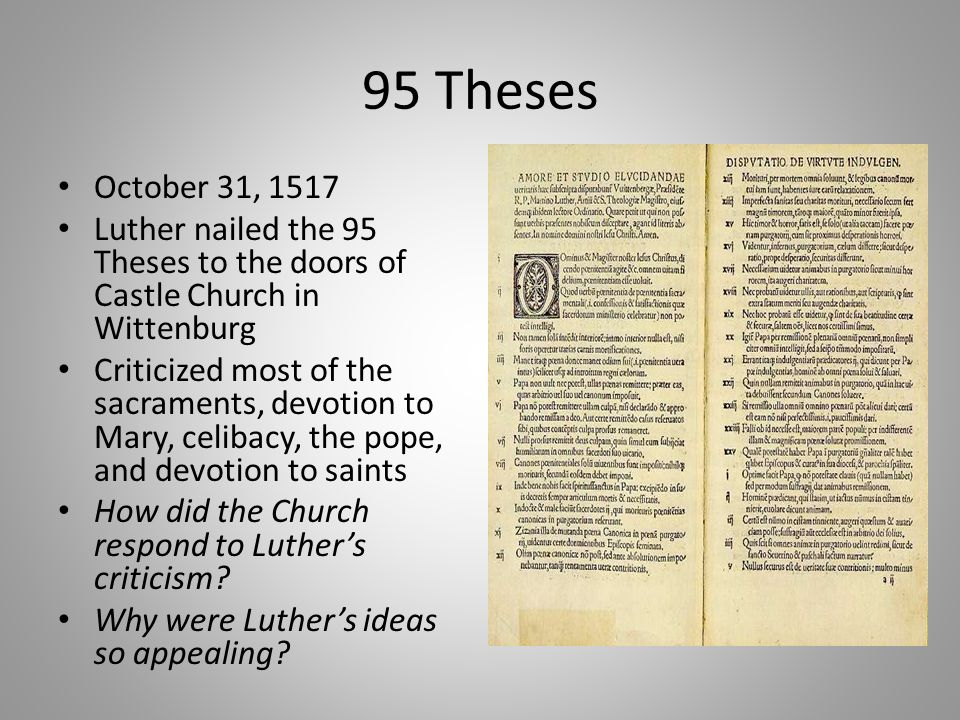 91 thesis Luther's 95 theses 95 tesis de lutero general information información general on october 31, 1517, martin luther, german theologian and professor at wittenberg.