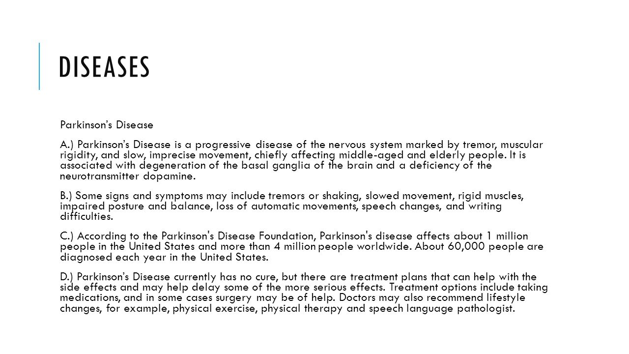 parkinsons disease and medical treatment options essay