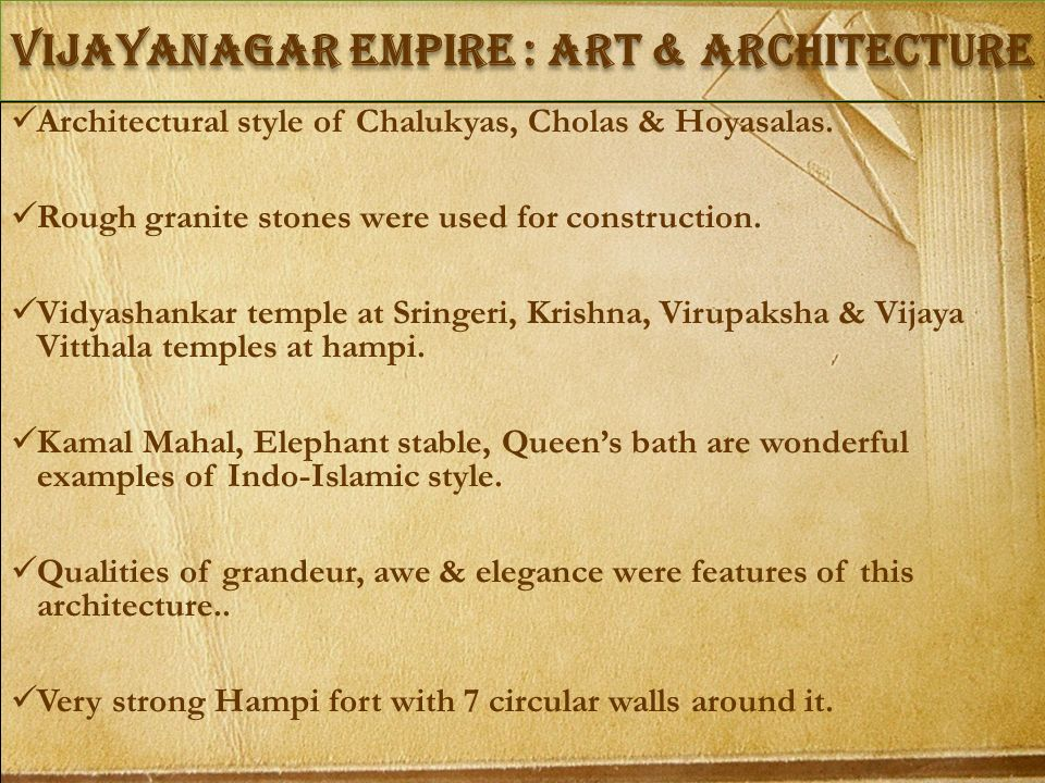 vIJAYANAGAR empire : Art & architecture