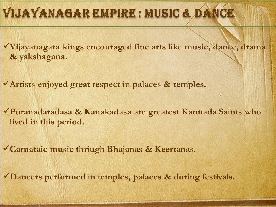 vIJAYANAGAR empire : Music & Dance