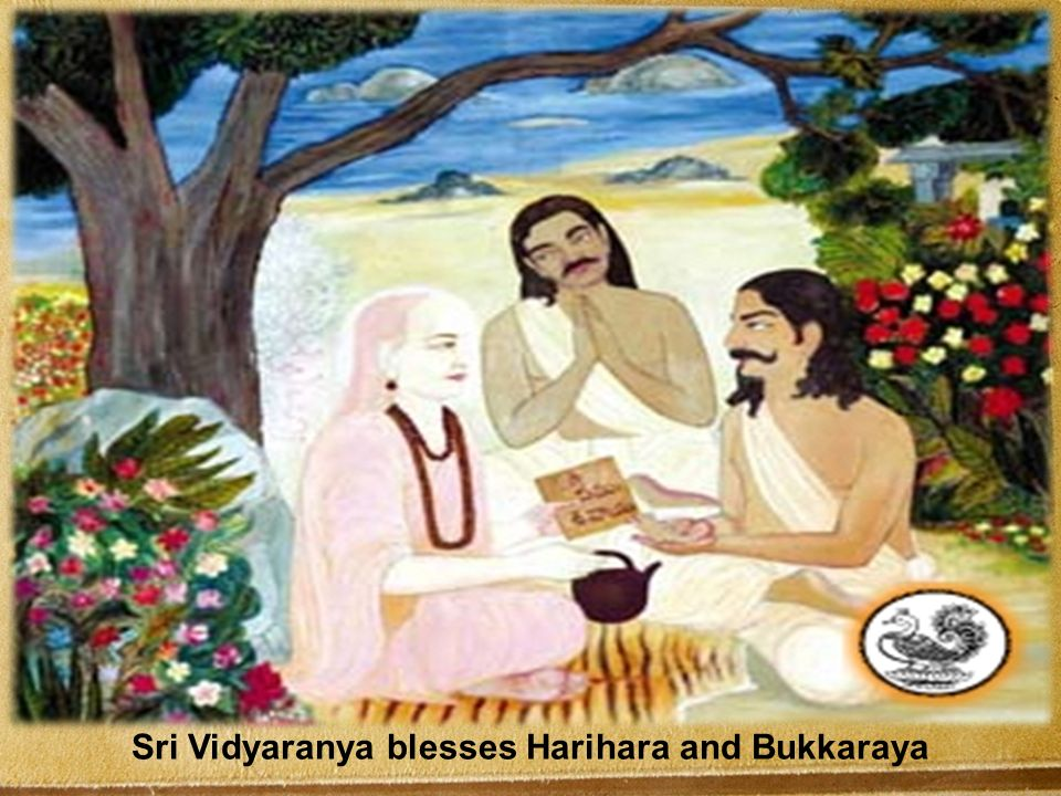Sri Vidyaranya blesses Harihara and Bukkaraya