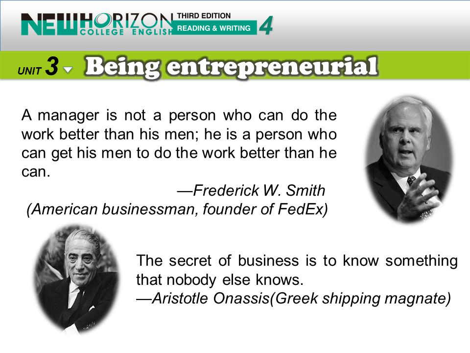 Being entrepreneurial
