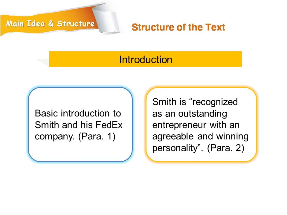 Introduction Basic introduction to Smith and his FedEx company. (Para. 1)