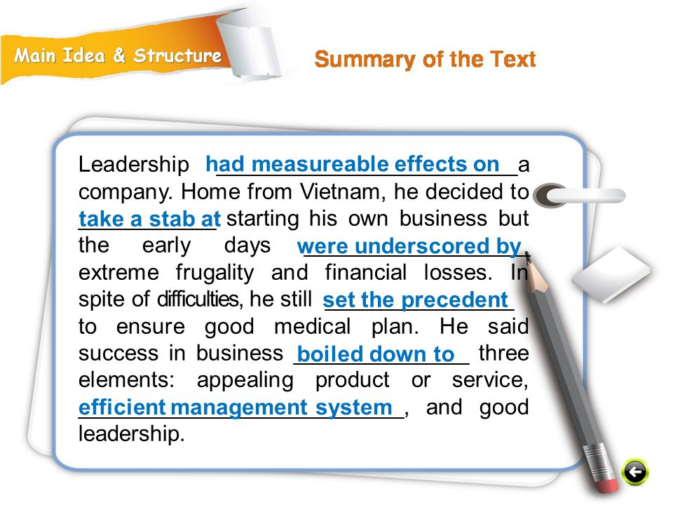 Leadership ________________________a company