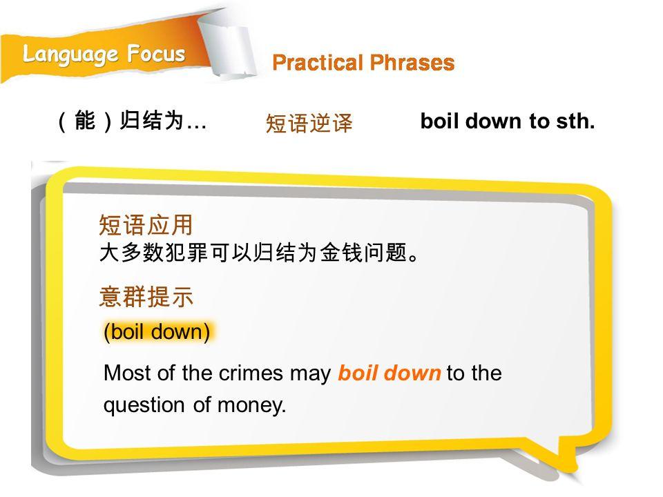 短语应用 意群提示 (能)归结为… 短语逆译 boil down to sth. 大多数犯罪可以归结为金钱问题。 (boil down)