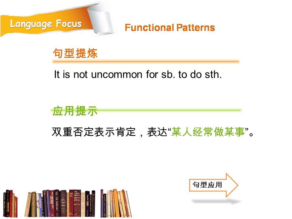 句型提炼 应用提示 It is not uncommon for sb. to do sth. 双重否定表示肯定,表达 某人经常做某事 。