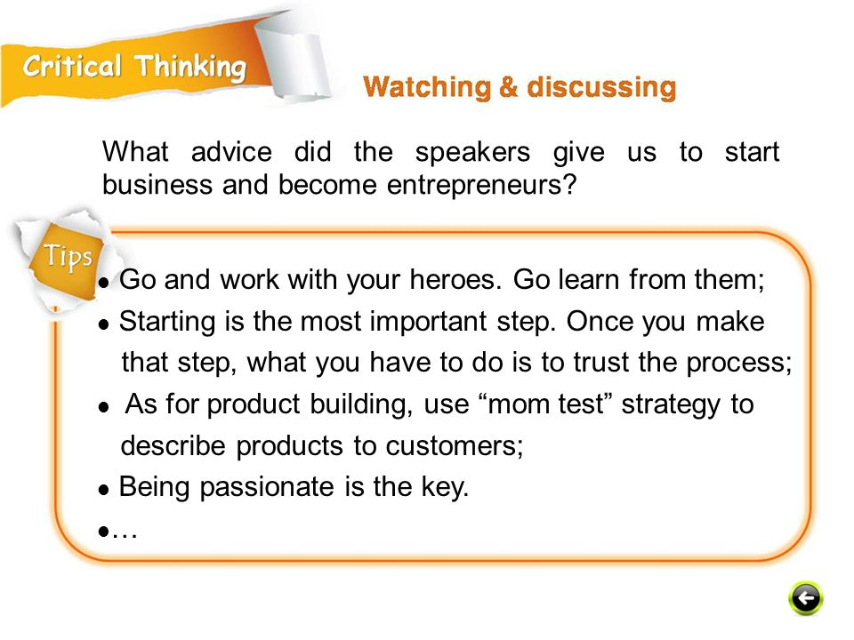 What advice did the speakers give us to start business and become entrepreneurs