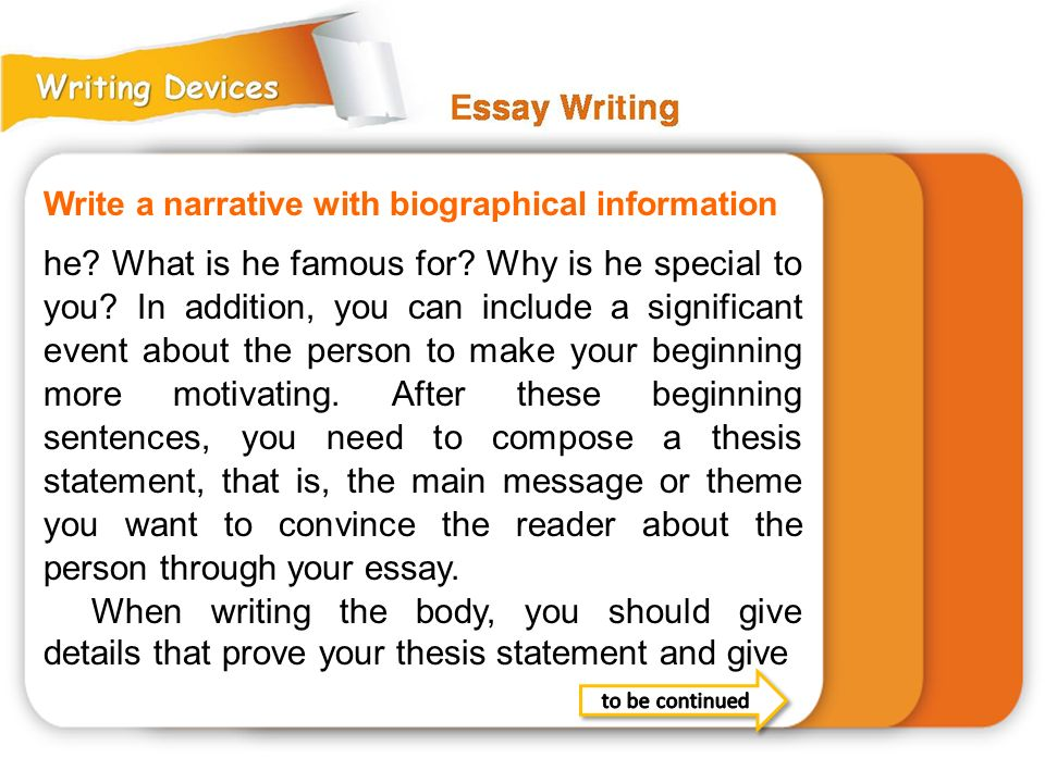 Write a narrative with biographical information