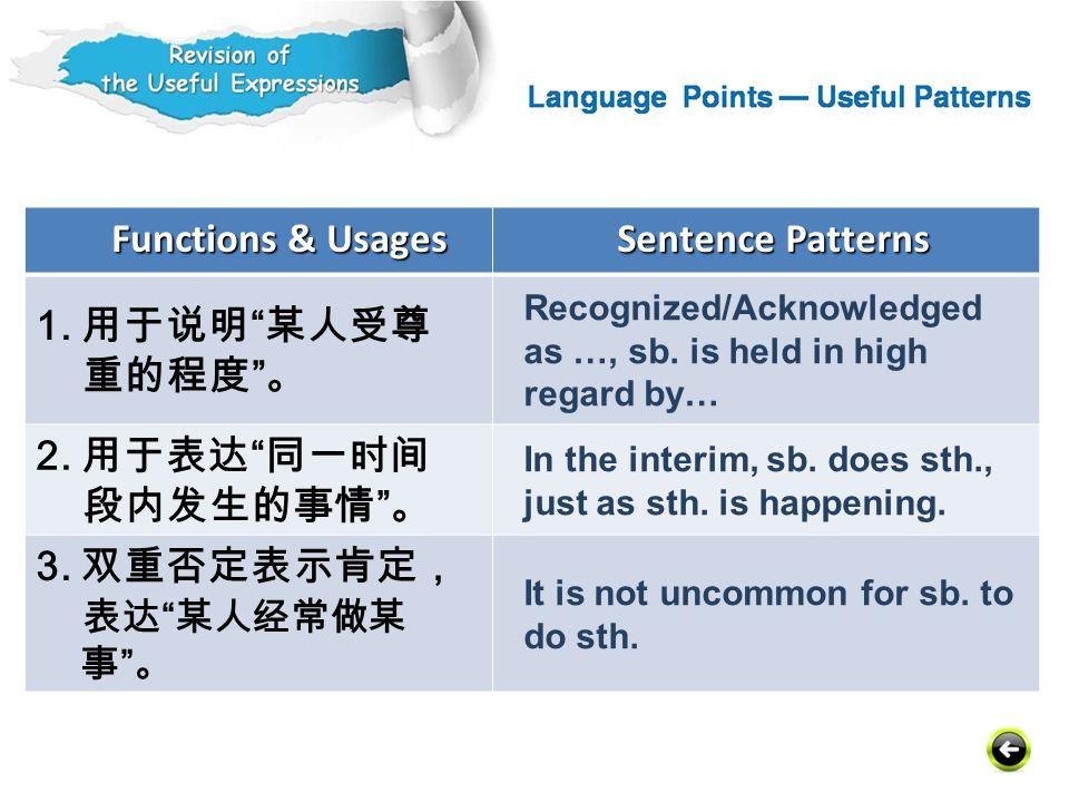 Functions & Usages Sentence Patterns 1. 用于说明 某人受尊 重的程度 。 2. 用于表达 同一时间