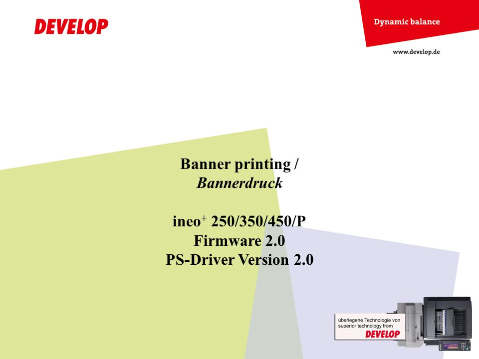 Banner printing / Bannerdruck ineo+ 250/350/450/P Firmware 2.0 PS-Driver Version 2.0