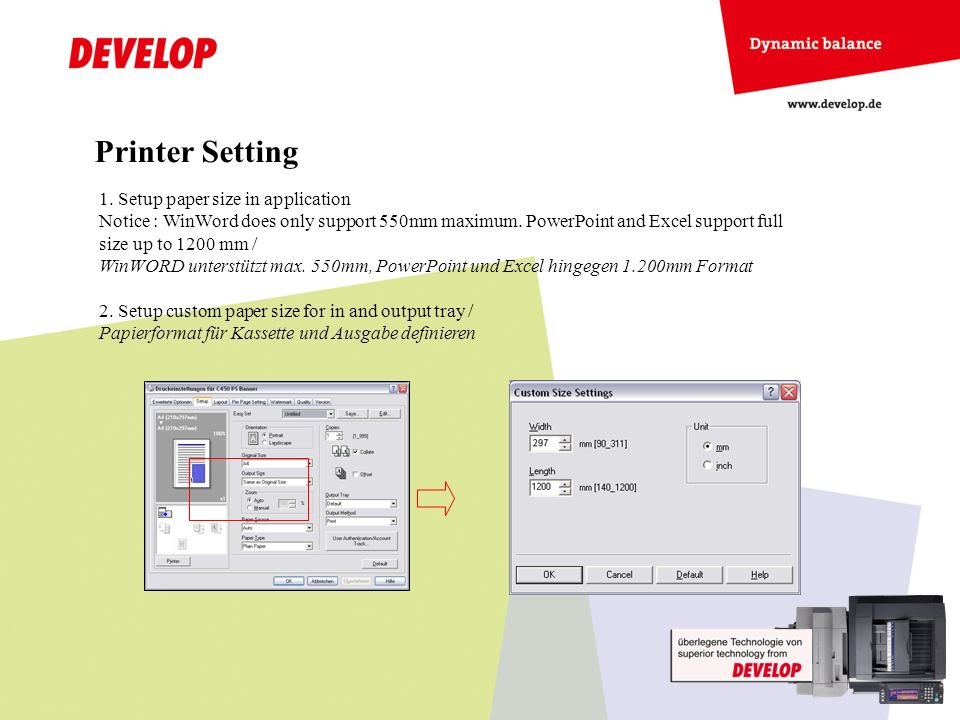 Printer Setting Setup paper size in application
