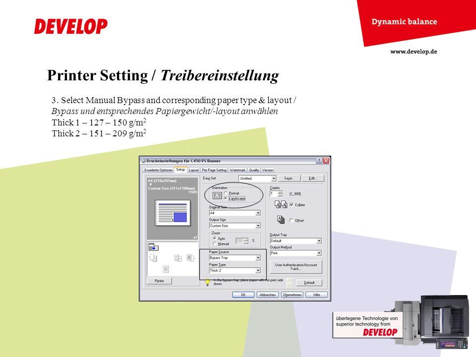 Printer Setting / Treibereinstellung