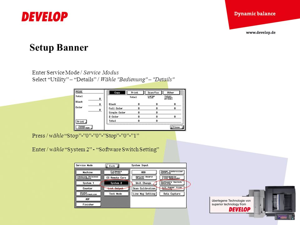 Setup Banner Enter Service Mode / Service Modus