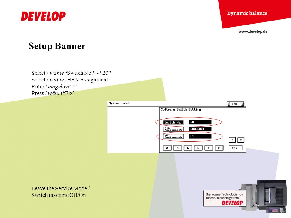 Setup Banner Select / wähle Switch No. - 20