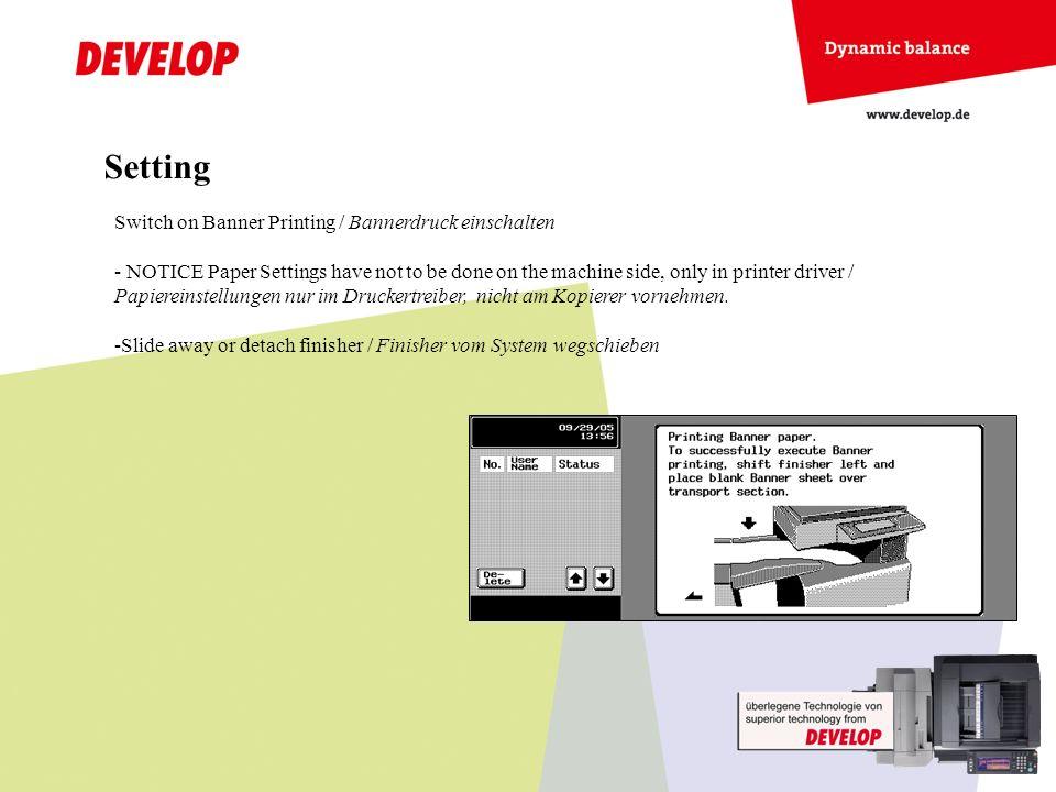 Setting Switch on Banner Printing / Bannerdruck einschalten