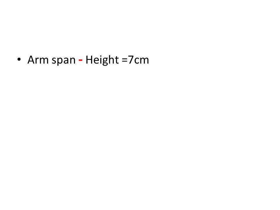 Arm span - Height =7cm