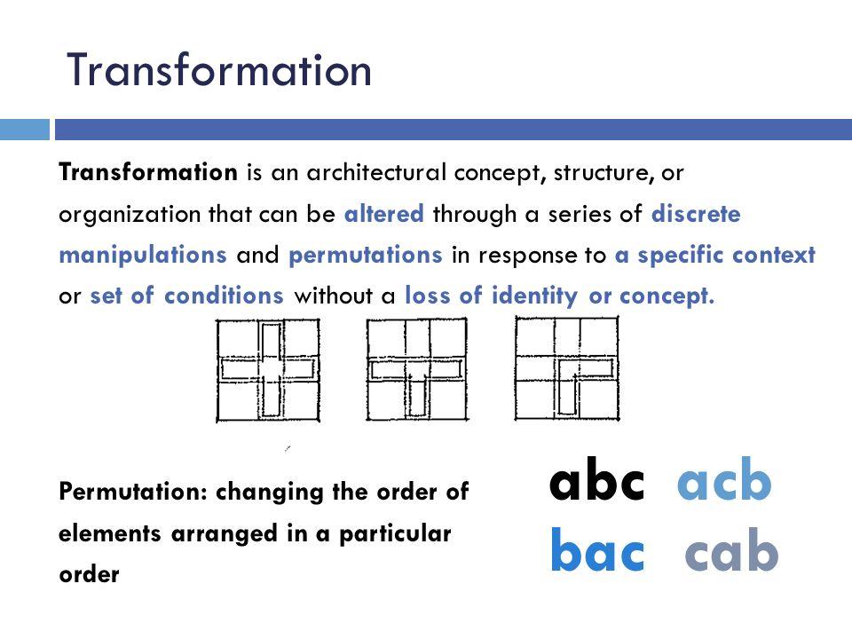 abc acb bac cab Transformation