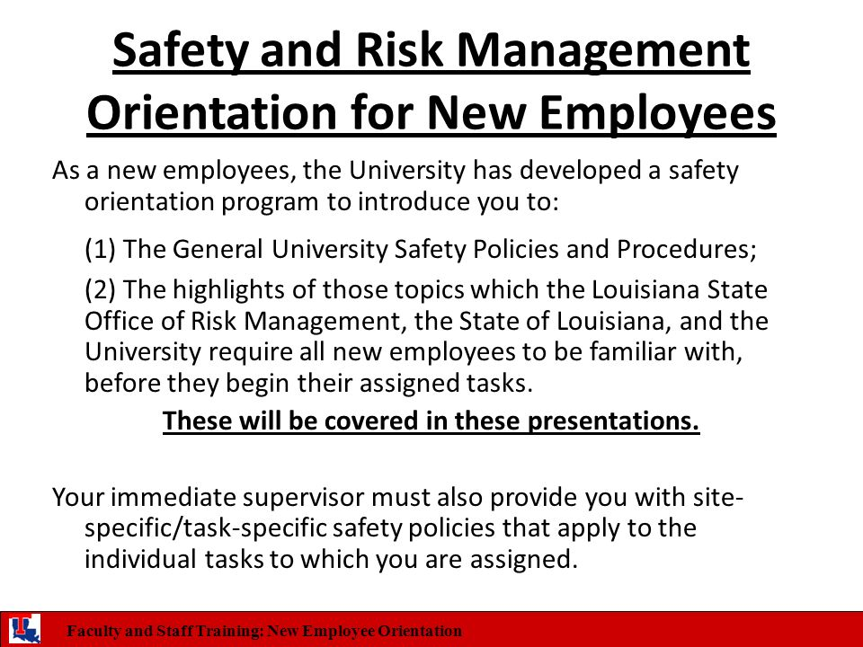 Safety and Risk Management Orientation for New Employees - ppt ...