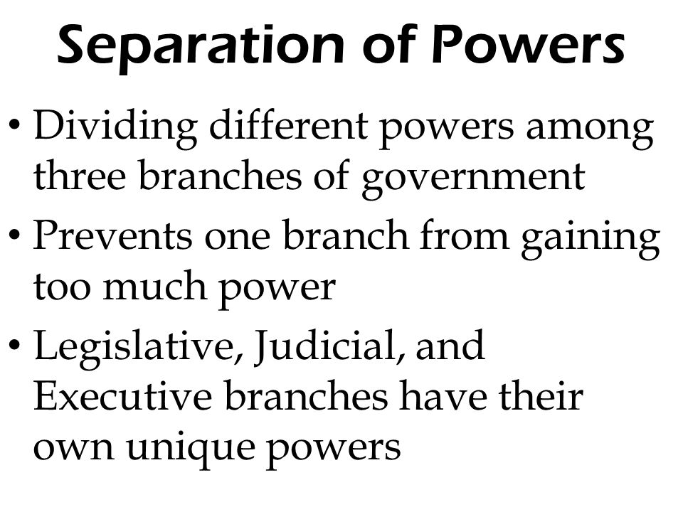 the separation of power in the constitution of the united states Separation of powers provisions in the constitution article i, section 1: all legislative powers herein granted shall be vested in a congress of the united states, which shall consist of a senate and house of representatives article ii, section 1: the executive power shall be vested in a president of the united states of america.