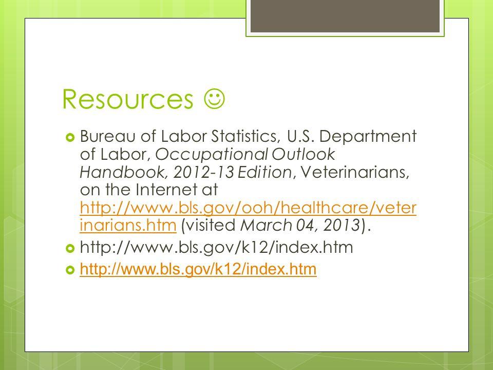 department of labor occupational outlook handbook