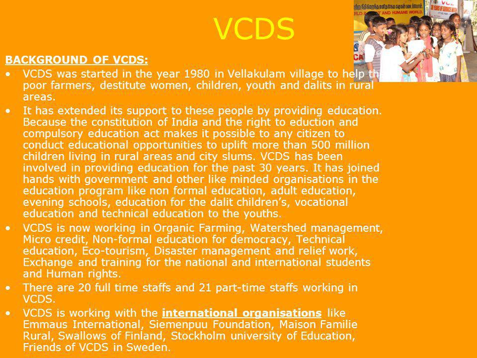 VCDS BACKGROUND OF VCDS: