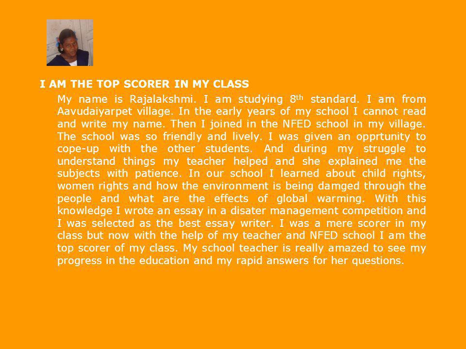 I AM THE TOP SCORER IN MY CLASS