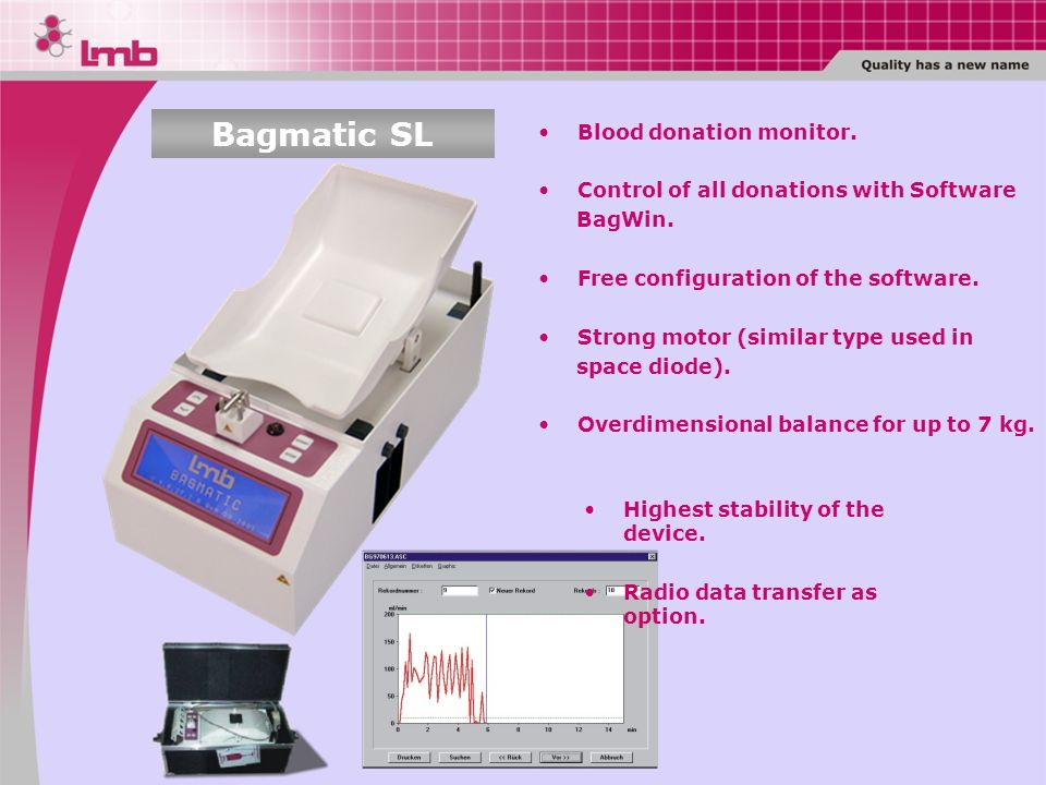 Bagmatic SL Blood donation monitor.