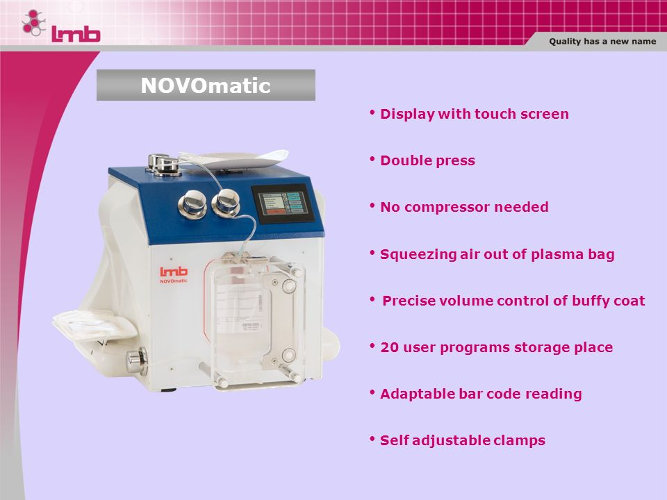 NOVOmatic Display with touch screen Double press No compressor needed