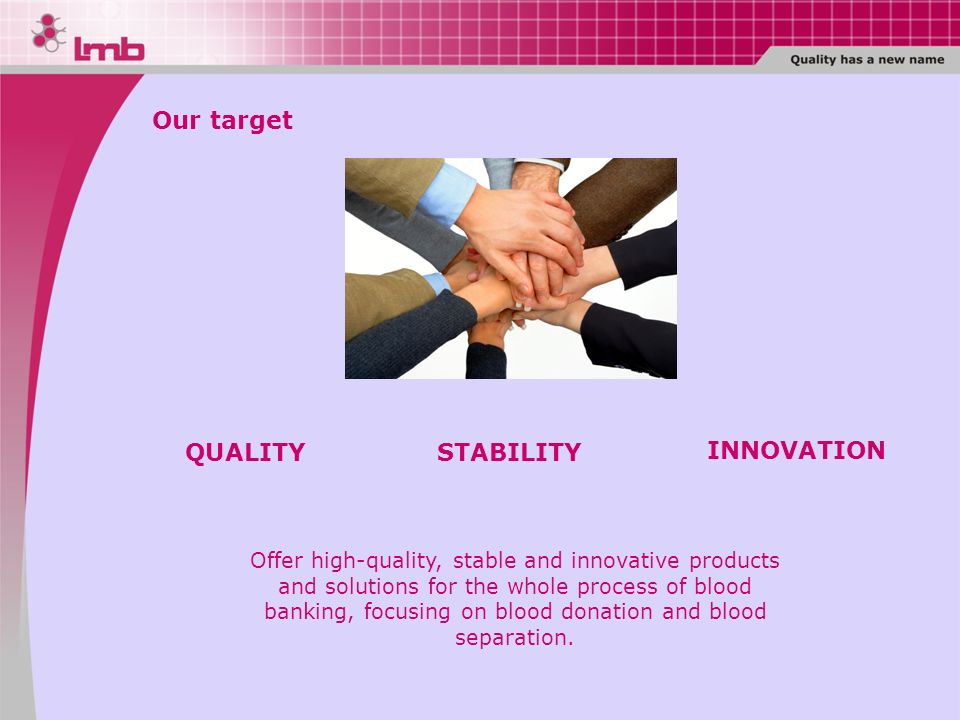 Our target QUALITY STABILITY INNOVATION