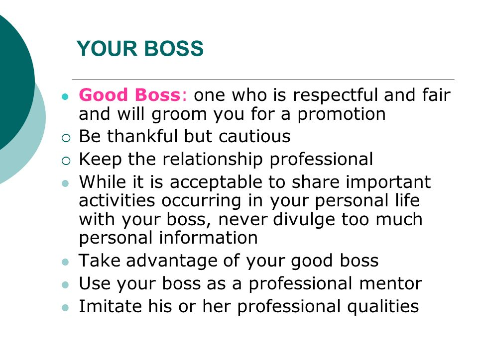intimate relationship with your boss