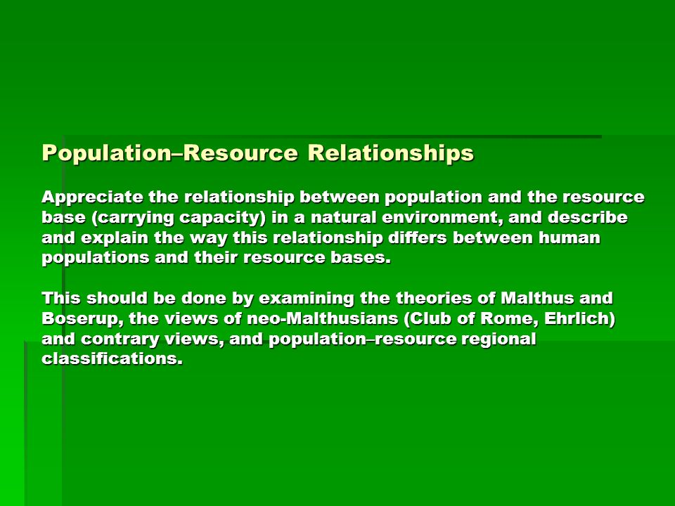 the relationship between population growth and resources can be described as