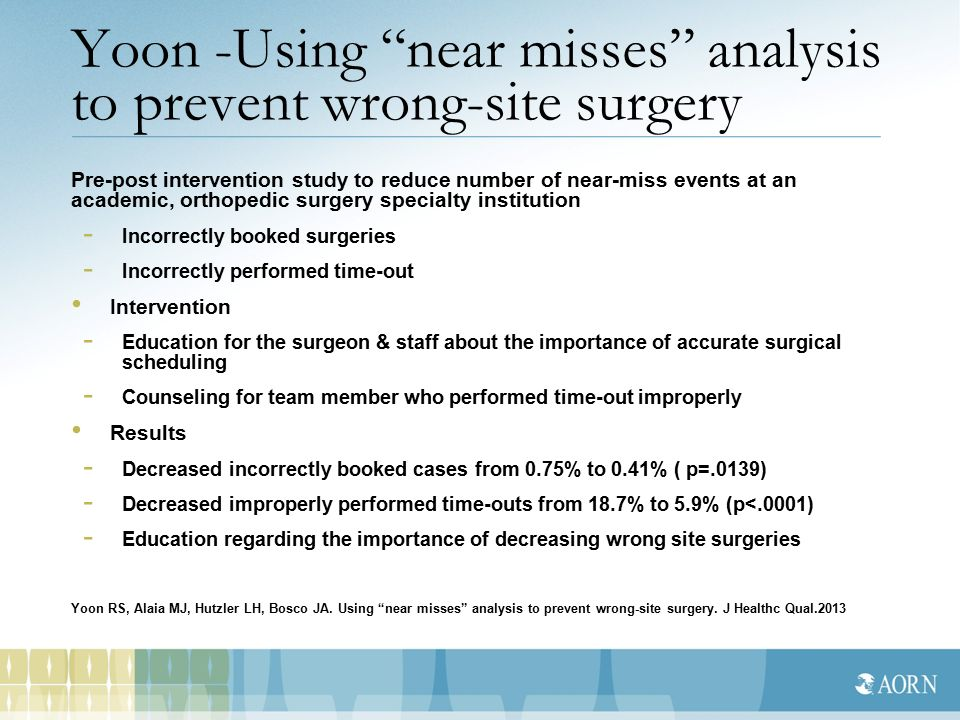 wrong site surgery June 29, 2011 — despite intense efforts to prevent wrong-site surgery in recent  years, the adverse event that should never happen occurs.