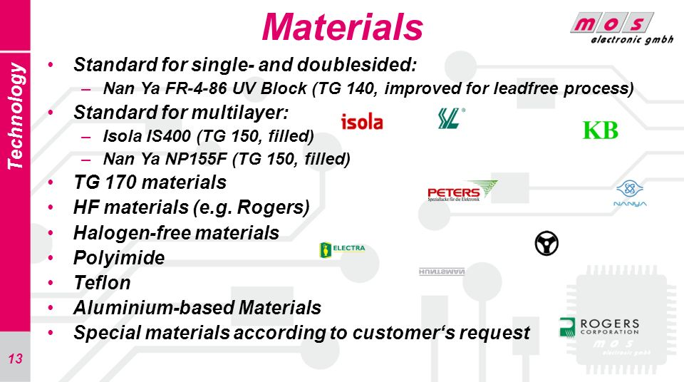 Materials Standard for single- and doublesided: