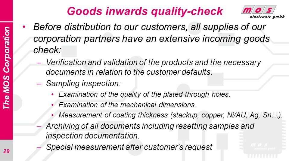Goods inwards quality-check