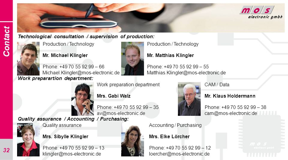 Contact Technological consultation / supervision of production: