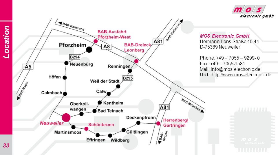 Location MOS Electronic GmbH Hermann-Löns-Straße 40-44