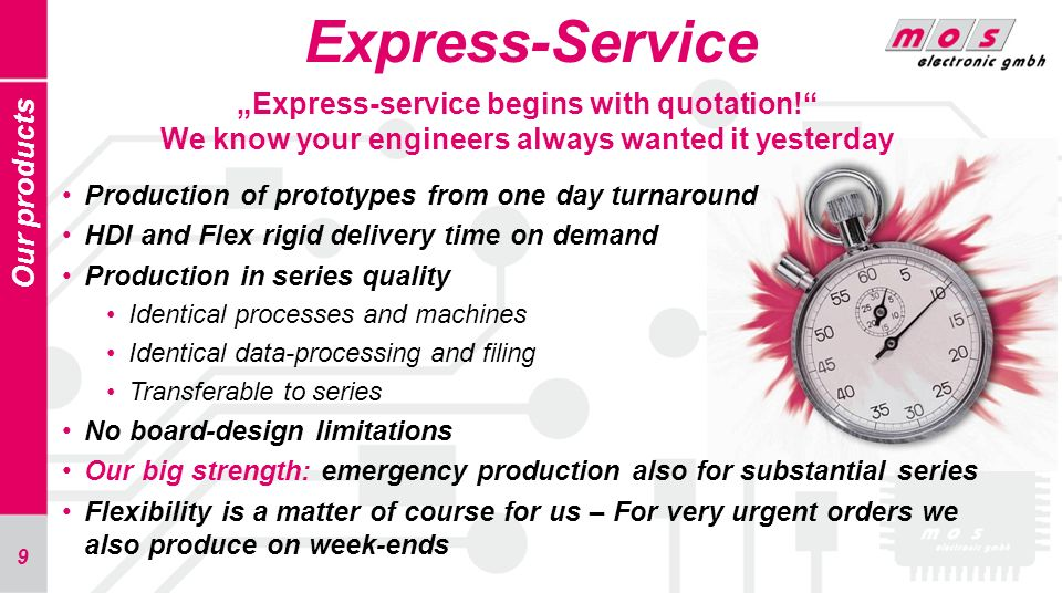 "Express-Service ""Express-service begins with quotation! We know your engineers always wanted it yesterday."