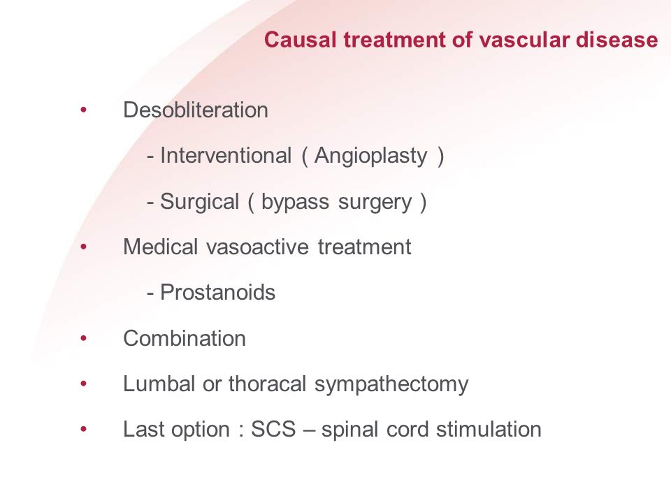 Causal treatment of vascular disease