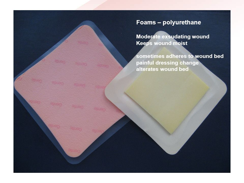 Foams – polyurethane Moderate exsudating wound Keeps wound moist
